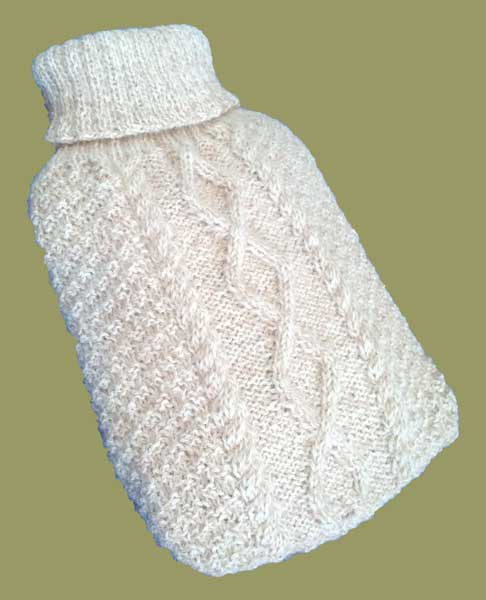 Free Knitting Pattern For Small Hot Water Bottle Cover : Aran Hot Water Bottle Cover [00000006] - Its Free! : The Wool Inn Online...